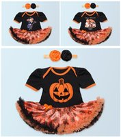 Girl spider headband - 2016 Halloween Rompers With Headbands Newly Baby Pumpkin Onesies Toddlers Spider Web Halloween Tutu Dresses Rompers Designs Free DHL