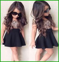 tutus do bebé do impressão do leopardo venda por atacado-Nova chegada tyfactory 2016 bebê meninas ternos de vestido crianças leopardo preto curto vestido de roupas para crianças roupas de manga curta t-shirt