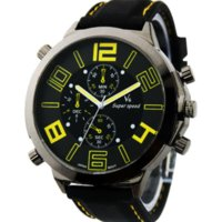 Wholesale V6 Super Speed Quartz Watch - Yellow Big dail Vogue V6 Silicone Band Marks Clock steel Quartz Mans Military sports Watches, man Large Face Super Speed Watch