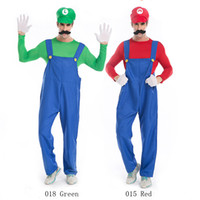 Wholesale Mario Luigi Costumes - Super Mario Luigi Brothers Plumbers With Hat And Beard Role Playing Costume Halloween Costumes For Women