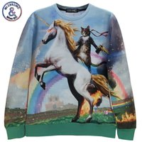 """Wholesale Blouse Galaxy - Wholesale- New fashion Women Men space """"Unicorn and Knight Cats"""" Print Pullover 3D Galaxy Sweatshirts Hoodies blouse Tops"""