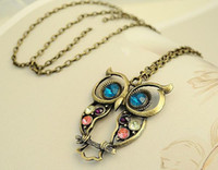 Wholesale Wholesale Owl Sweaters - DHL FREE vintage necklaces antique bronze owl pendant necklace with 3 colors crystal rhinestones wholesale women sweater chain necklace