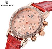 Wholesale Gold Pin Diamond - 2016 Luxury diamond brand TWINCITY women's quartz watch chronograph wristwatch automatic date sports leisure watches fashion leather strap