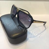 gafas de sol de envío al por mayor-Envío gratuito de moda de lujo marca evidencia gafas de sol retro vintage hombres marca diseñador brillante marco de oro láser logotipo de las mujeres de calidad superior con caja