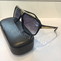 Wholesale designer sunglasses for sale - Free ship fashion Luxury brand evidence sunglasses retro vintage men brand designer shiny gold frame laser logo women top quality with box