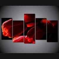 calla lily pintura al óleo fotos al por mayor-5 Panel HD Impreso tulipanes rojos flores pintura al óleo sobre lienzo decoración de la habitación impresión cartel foto lienzo calla lily pintura al óleo