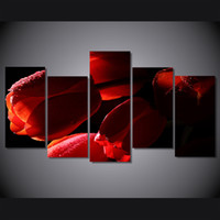 Wholesale calla lily oil painting pictures for sale - Group buy 5 Panel HD Printed red tulips flowers oil Painting on canvas room decoration print poster picture canvas calla lily oil painting