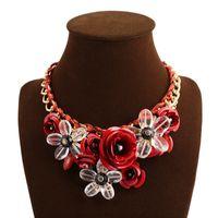 Wholesale Bib Necklaces Prices - Low price Adjustable Hot Fashion Women Big Gold Chain Rhinestone Crystal & Rose Flower Bib Statement Necklace