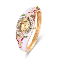 Wholesale Cases Swarovski Diamond - Vintage Diamond Watches Chunky Swarovski Siam Stone Epoxy Floral Design Pretty Luxury Watches 26mm Watch Case Ladies Watches 61166060