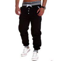 pantalones de baile holgados al por mayor-Al por mayor-Ropa de gimnasia para hombre Casual Jogger Rock hombres Harem Joggers Baggy Hip Hop Dance Jogger Sport Sweat Pants Male Pantalones 01c0114