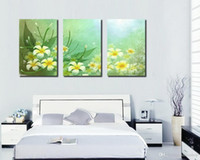 Wholesale More Fine - Modern Beautiful Flowers Fine Floral Painting Giclee Print On Canvas Home Decor Wall Art Set30187