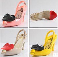 Wholesale Jelly Heart Sandals - 2015 high-heeled open toe jelly hearts sandals heart sandals shoes sandals melissa sandals female