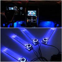 dekoratif zemin lambası toptan satış-4 In 1 12 V Moda Romantik LED Mavi Araba Dekoratif Işıklar Şarj LED İç Zemin Dekorasyon Işıkları Lamba Sıcak Dünya Çapında