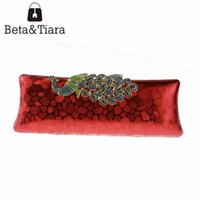 Wholesale Evening Clutch Crystals - 2016 Fashion Ladies Hand Bag - Long Square Sequin Crystal Clutch Evening Bags with Phenix Red Silver Black and Gold Clutch Bag