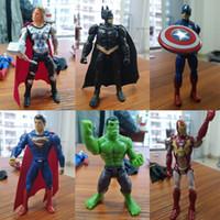 vengadores ponen juguetes al por mayor-6 unids / set 10 cm superhéroe los Vengadores Figuras PVC modelo Juguetes hombre araña Iron Man Thor acción juguetes regalos para niños