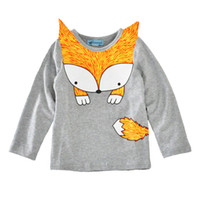 Wholesale Fox Print Clothing - baby clothes spring new Girls cute print fox long sleeve t shirt toddler kids pullover kids cotton tops free shipping in stock