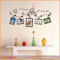 décor d'oiseaux d'amour achat en gros de-Love Birds Cadre Photo Art Stickers Muraux Décalque Romantique Mariage Salon Chambre Décoration Décor adesivo de parede