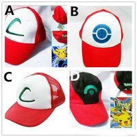 Wholesale Wholesale Adult Sneakers - Poke Ash Ketchum Trainer Hat Cap Adult Mesh Ball Caps Adult Costume Cartoon Mesh Baseball Sneaker Hat 4 designs available in stock F612