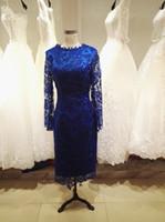 vestido de novia madre invierno al por mayor-Elegante azul real encaje madre de la novia vestidos té longitud mangas largas madre de la novia vestidos otoño invierno pálido rosa, verde