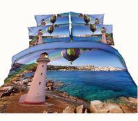 ingrosso biancheria da letto oceano piena-Fashion Balloon Lighthouse 3D stampato Bedding Set Twin Full Queen King Size copriletti Copripiumini Rainbow Sea Ocean 600TC 3 / 4PCS