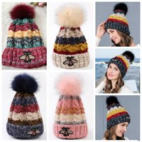 Wholesale chunky acrylic yarn - 5 Colors Bee Knitted Hats Trendy Winter Thicker Beanies Warm Oversized Chunky Skull Caps Soft Cable Knit Slouchy Crochet Hats CCA7434 100pcs