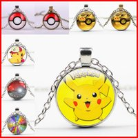 Wholesale Ball Chain Necklace Colors - 44 colors ball necklaces keychain Pocket Monsters Pikachu Eevee Charizard time gem glass cabochon necklace women men kids toy
