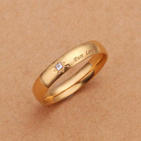 Wholesale Pure Gold Rings Men - Never fade 18k gold plated Pure Love letter jewelry accessories Women & Men wedding pair Couple Rings