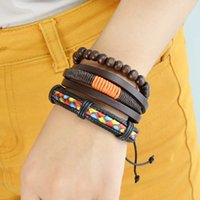 Wholesale Rock Band Pc - 3 pcs set Punk Rock Style Coffee Color PU Leather Colorful Beaded Bracelets & Bangles For Women And Men Wrist Band