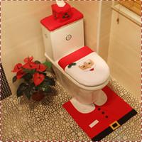 ingrosso migliori pezzi di decorazione-Spedizione gratuita 2017 Natale 3 pezzi / set vendita calda best felice santa coprivaso copridivano bagno set decorazioni natalizie MYF275