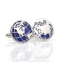 Wholesale Material Maps - Globe Cufflinks Wholesale&retail Novelty Blue Color World Map Design Quality Brass Material Best Gift For Men