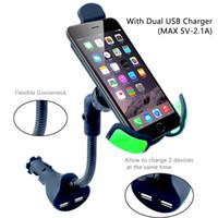 çakmak telefon tutacağı toptan satış-Araç Telefonu Dağı Çakmak Araç 2 USB Şarj Kaz-boyun ile Araç Telefonu Tutucu Cep Telefonu Dağı Şarj için 3.5-6.3 inç