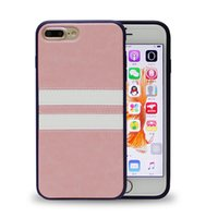 Wholesale Iphone Case Hybrid Stripes - For iPhone 7 Plus Double Colors Stripe Hybrid TPU PU Ultra Thin Full Protection Back Cover Case For iPhone 6S 6 Plus OppBag
