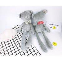 Wholesale Sleeping Bear Cartoon - Bowtie Bear Toys 42cm Height Grey Color Baby Cartoon Plush Doll Kids Sleeping Comfort Toys Children's Gift 10pcs