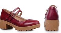 boneca vermelha japonesa venda por atacado-Grossos japoneses bonitos pequenos sapatos vermelhos com departamento de floresta grossa Shuangkou boneca sapatos