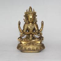 Wholesale Tibetan Bronze Buddha Statue - Bodhisattva Avalokiteshvara. Rare, old Tibetan bronze statue (Buddha Tibet)