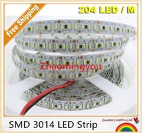 Wholesale Super Bright Color Led - YON New SMD 3014 LED Strip, Super Bright 204led m waterproof and no waterproof led tape light DC 12V white color,5m lot