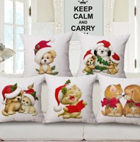 Wholesale Animal Cushion Covers - Christmas Pillow Case Merry Xmas Pillow Covers Christmas Animal Festival Cushion Covers Sofa Home Decorations KKA2485