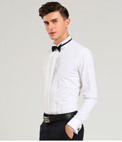 Wholesale Men S Dress Groom Wear - Free shipping New Style Cotton White Men Wedding Prom Dinner Groom Shirts Wear Bridegroom Man Shirt