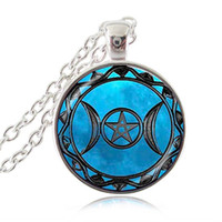 Wholesale Wiccan Charms Wholesale - Triple Moon Goddess Pendant Pentagram Necklace Witch Jewelry Glass Dome Wiccan Necklace Silver Bronze Plated Chain Charm Wicca Jewellery