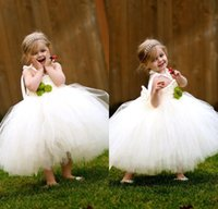 Wholesale Cheap Toddler Birthday Tutus - 2017 Pretty Puffy Tulle Flower Girls' Dresses Cheap Baby Girl Tutu Skirts Toddler Wedding Party Ball Gowns First Communion Dress MC0215