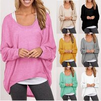 Wholesale Knitting Blouse Womens - Knitting Loose Blouses Solid Color Long Sleeve Top Shirt Spring Autumn Womens T Shirt Blouses Tops
