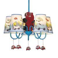 araba avizesi toptan satış-Erkek Karikatür Araba Yatak Odası Avize Lamba Akdeniz Mavi çocuk Odası Sarkık Işıkları Yaratıcı Çocuk Kolye Işık