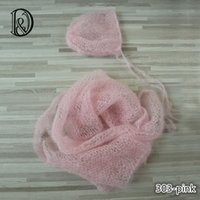 Wholesale Mohair Crochet Wrap - 60x30cm Handknit Wraps Set(Wraps with Bonnet)Soft Real Little Mohair Baby Photography Props Newborn Photo Wraps