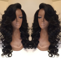 Wholesale Body Wave Styles - Celebrity style Synthetic wigs loose body wave Hair Wig Natural black 1B color with side bangs pelucas black women full wigs