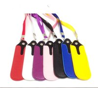 Wholesale Carry Bag Lanyard - eGo E Cigarette Bag Necklace String PU Leather Lanyard Carrying Pouch Pocket Neck Sling Rope Round Corner Case Bag for Ego E Cigarette^^12