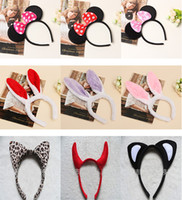 Wholesale Hen Night Headband - New Minnie Mouse Ears Bow Headband Hen Nights Womens Girls Mickey Party Fancy Dress Tigger Leopard Ox Plush Cosplay Festive Supplies ZJ-H01