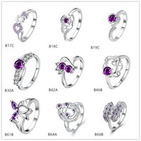 Wholesale Planet Ring Silver - Brand new mixed style fashion purple gemstone 925 silver ring EMGR25,Lotus planet sterling silver ring 10 pieces a lot