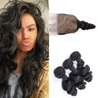 Wholesale Easy Weave - Indian Virgin Hair weft With Closure Loose Wave Silk Base Lace Closure With Hair Bundles 4pcs lote Fast Delivery G-EASY