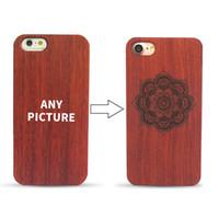 ingrosso iphone inciso indietro-Custodia in legno con incisione laser per iPhone 7 6 6 S Plus. Custodia posteriore originale retro in PC con retro sottile in legno