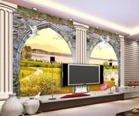 ingrosso porte finestre in stile europeo-Porte 3D in stile europeo e carta da parati 3d per finestre tridimensionali scultura a muro colonna romana